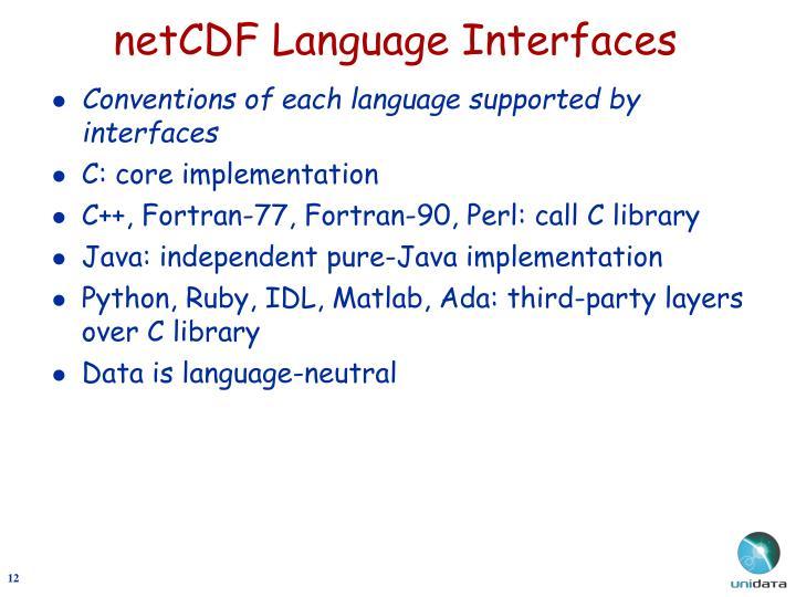netCDF Language Interfaces