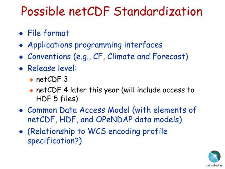 Possible netCDF Standardization