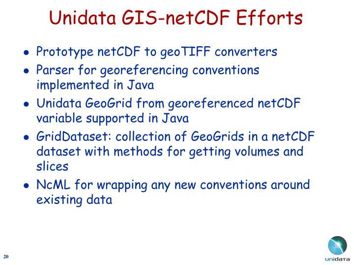 Unidata GIS-netCDF Efforts