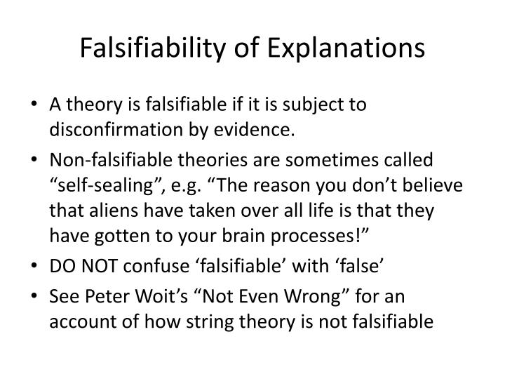Falsifiability of Explanations
