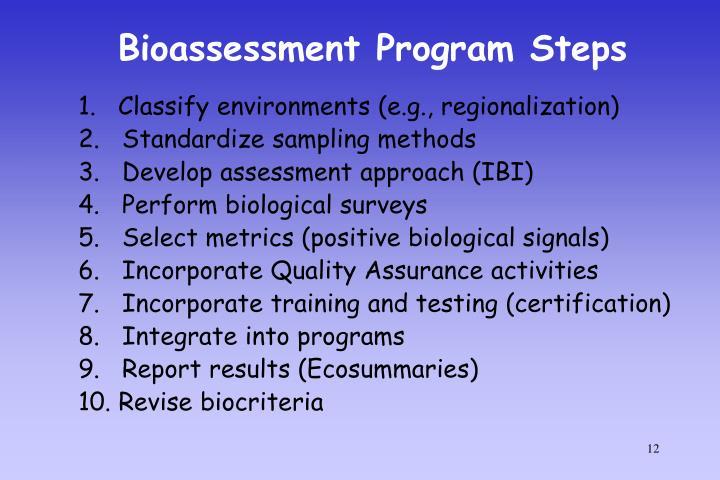 Bioassessment Program Steps