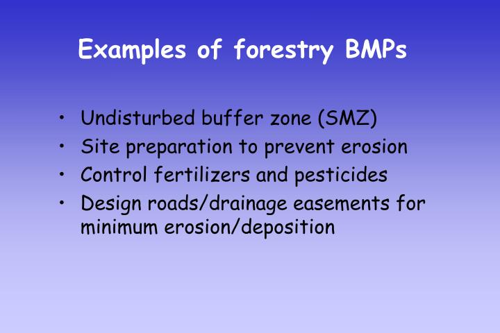Examples of forestry BMPs