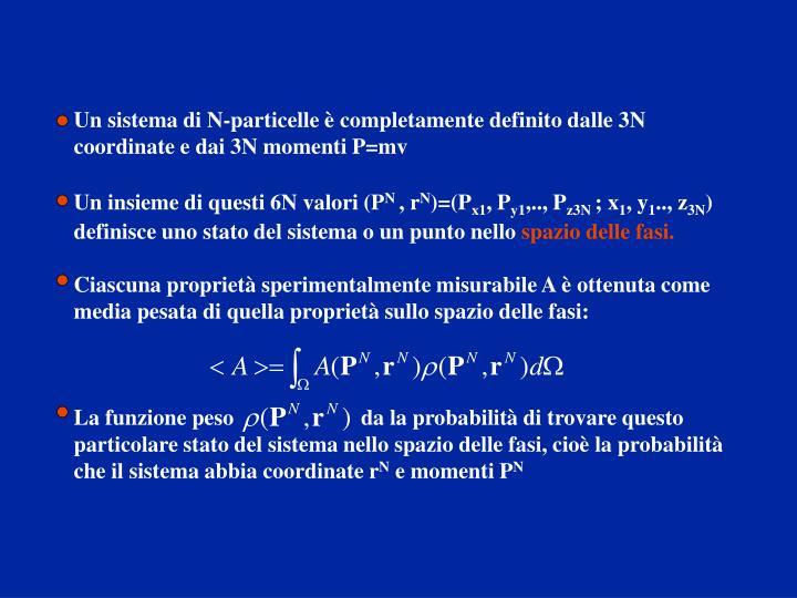 Un sistema di N-particelle è completamente definito dalle 3N coordinate e dai 3N momenti P=mv