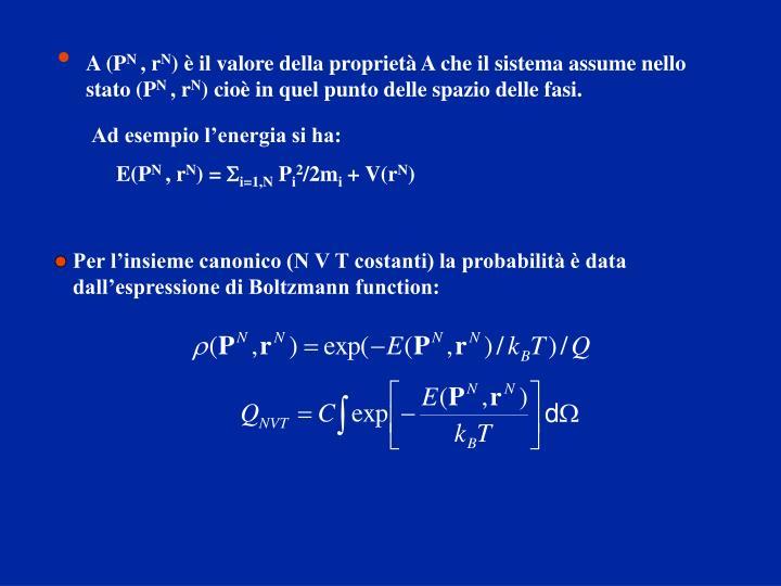 Per l'insieme canonico (N V T costanti) la probabilità è data dall'espressione di Boltzmann function:
