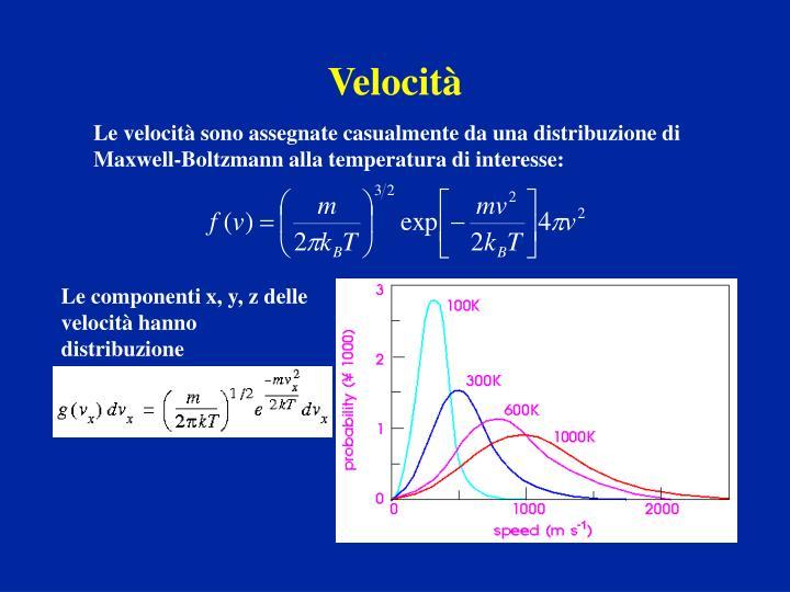 Le componenti x, y, z delle velocità hanno distribuzione