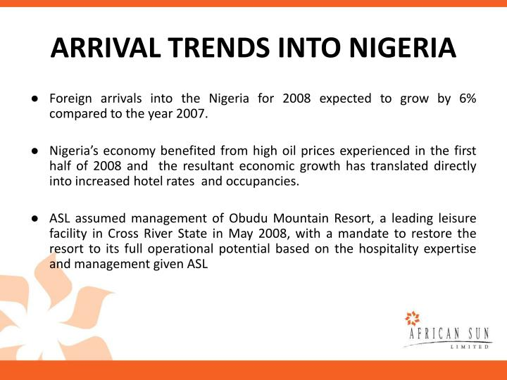 ARRIVAL TRENDS INTO NIGERIA
