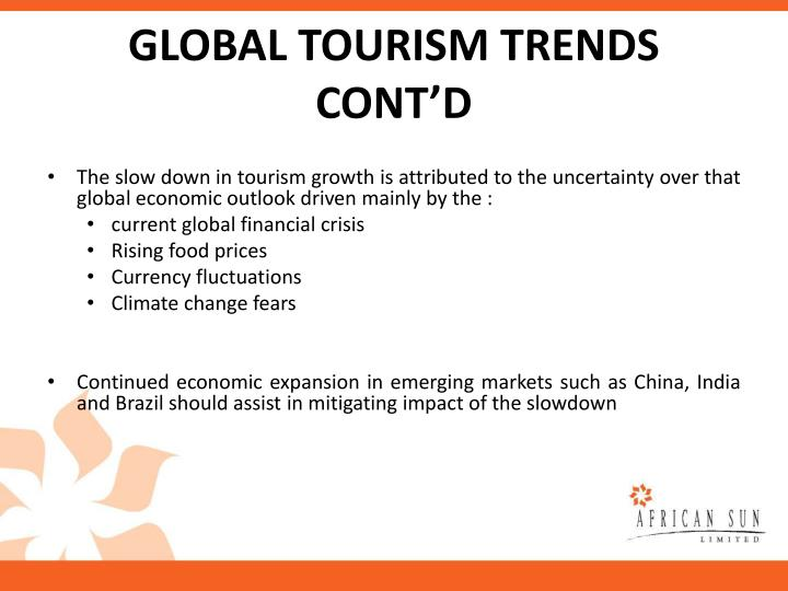 GLOBAL TOURISM TRENDS CONT'D