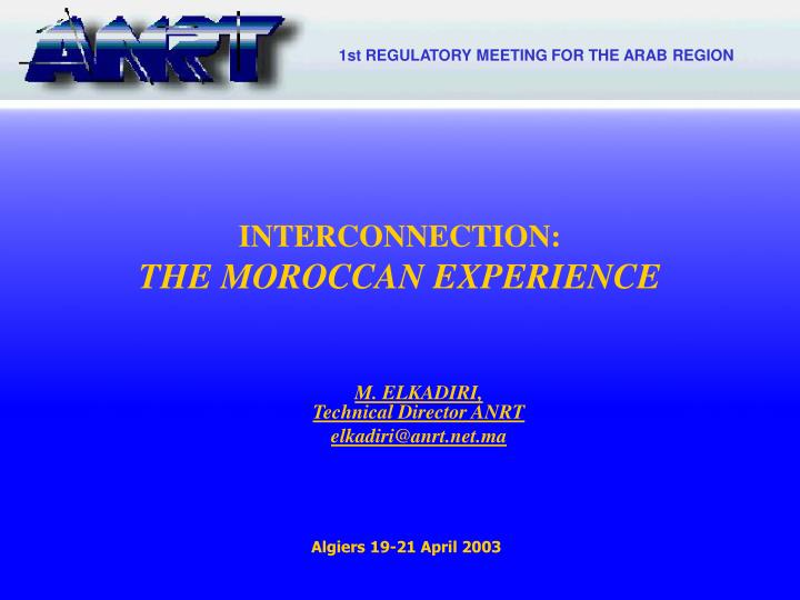 1st REGULATORY MEETING FOR THE ARAB REGION