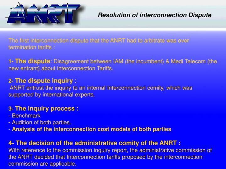 Resolution of interconnection Dispute
