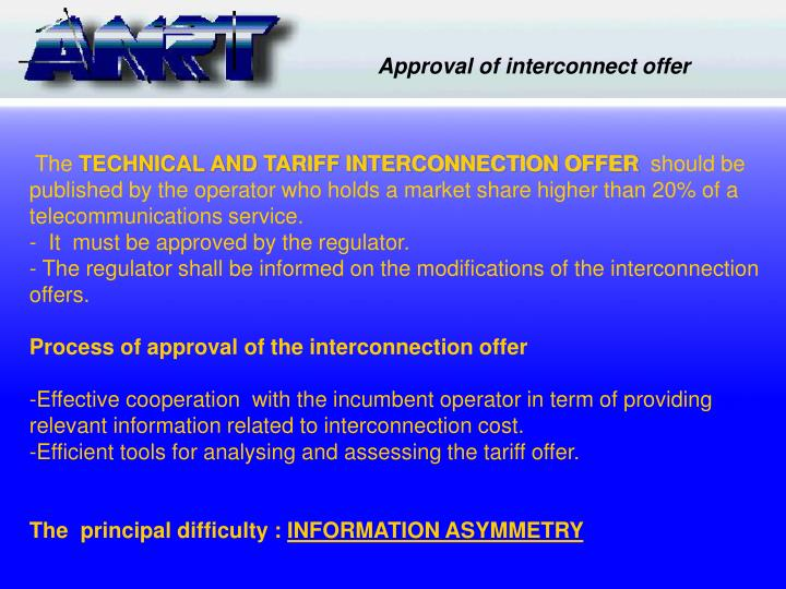Approval of interconnect offer