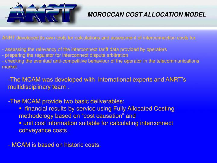 MOROCCAN COST ALLOCATION MODEL