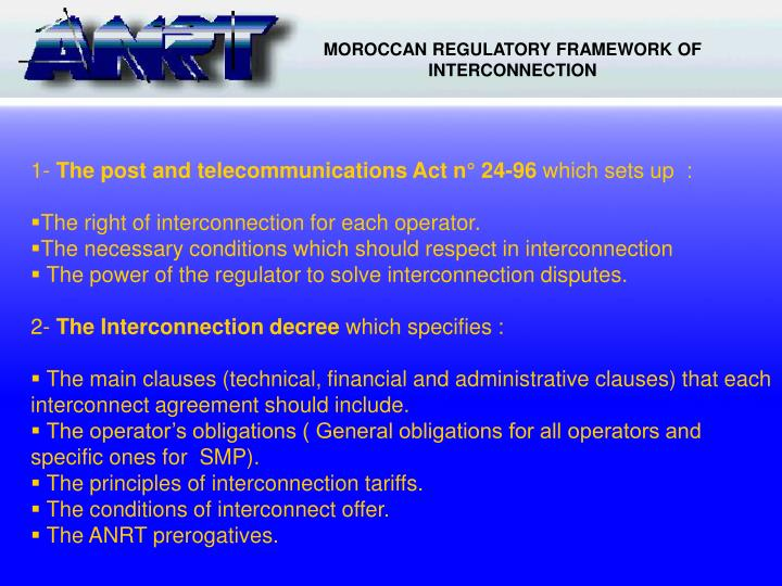 MOROCCAN REGULATORY FRAMEWORK OF INTERCONNECTION