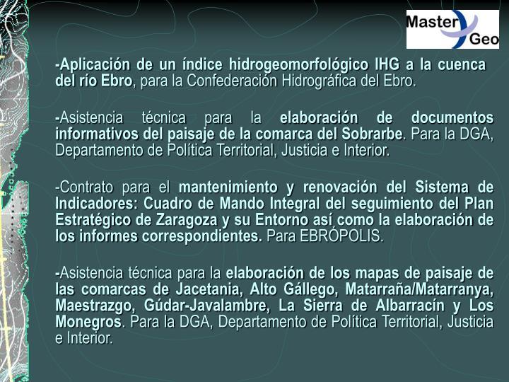 -Aplicación de un índice hidrogeomorfológico IHG a la cuenca del río Ebro