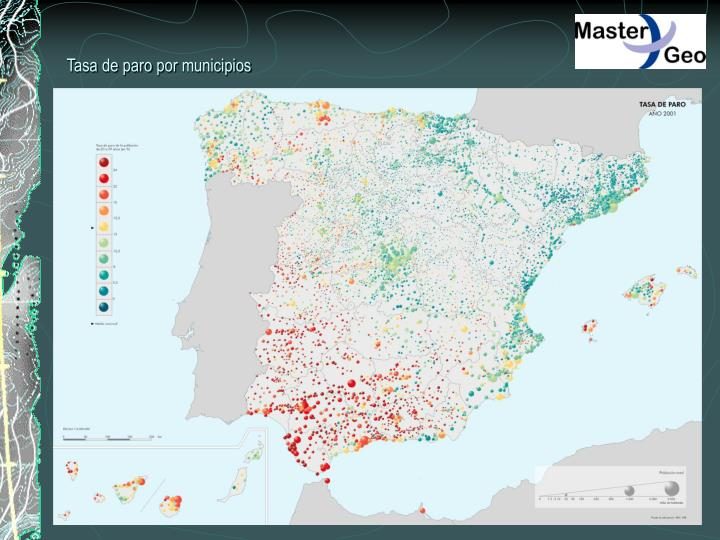 Tasa de paro por municipios