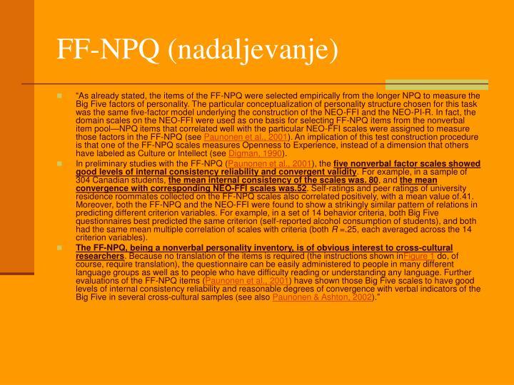 FF-NPQ (nadaljevanje)