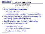 conceptual overview lagrangian models