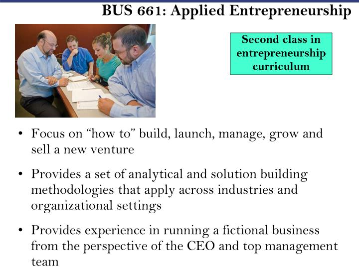 BUS 661: Applied Entrepreneurship
