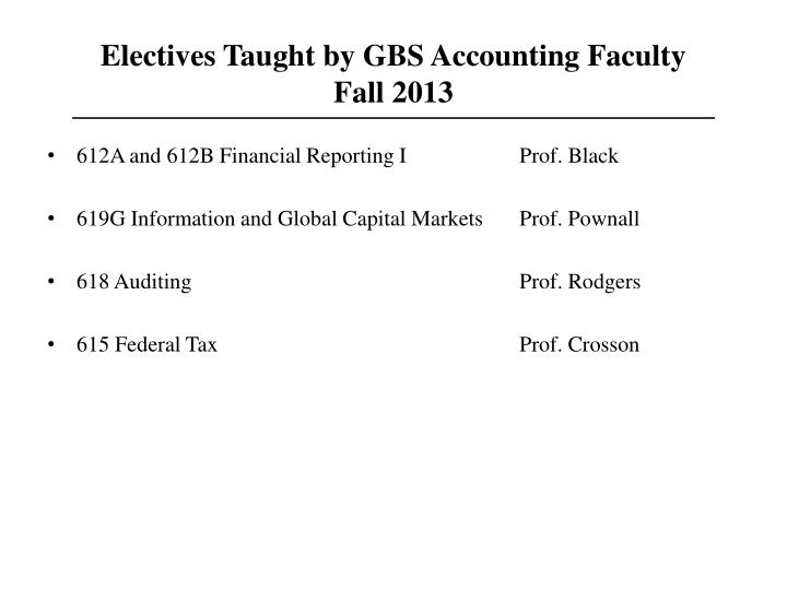 Electives Taught by GBS Accounting Faculty