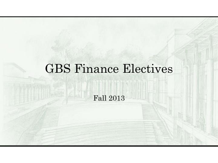 GBS Finance Electives