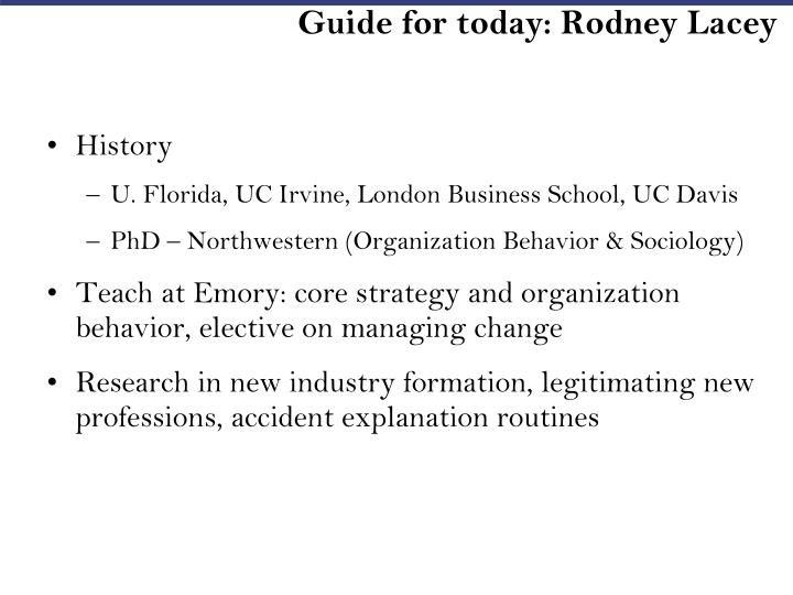 Guide for today: Rodney Lacey