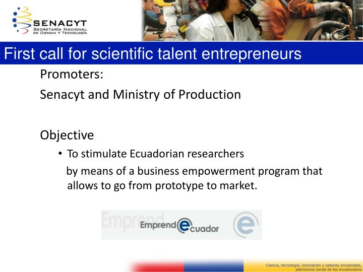 First call for scientific talent entrepreneurs