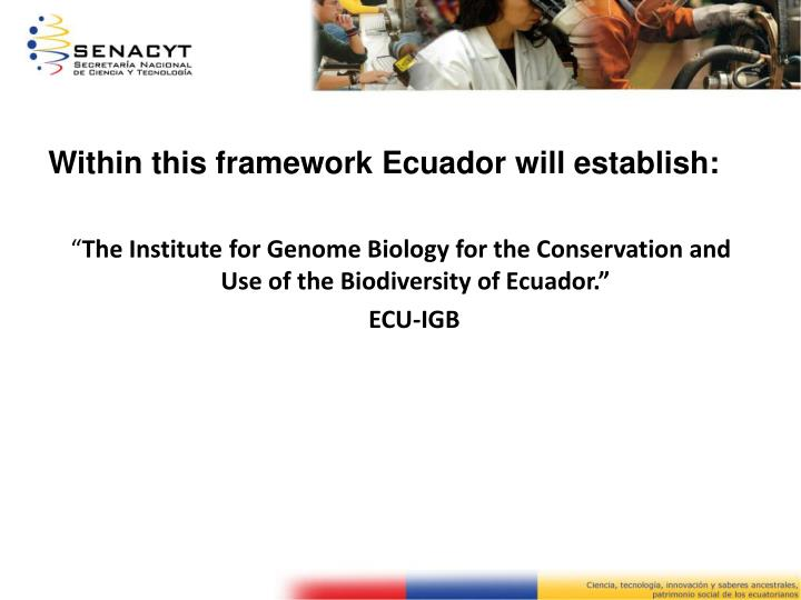 Within this framework Ecuador will establish:
