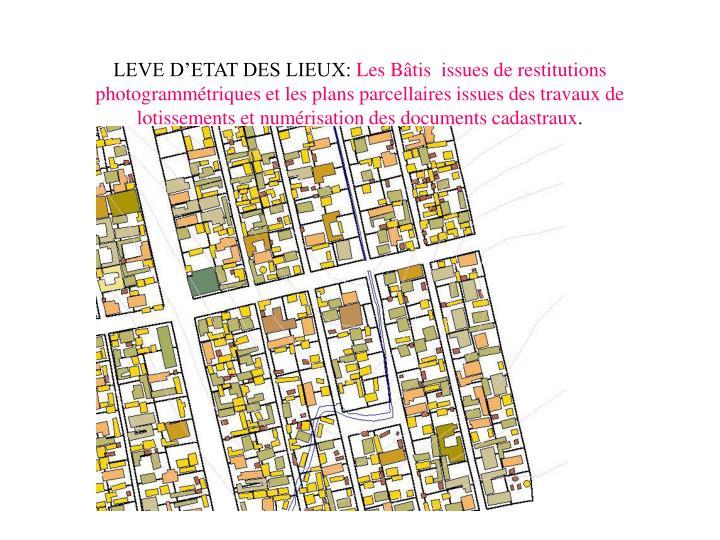 LEVE D'ETAT DES LIEUX: