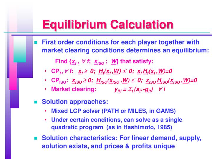 Equilibrium Calculation