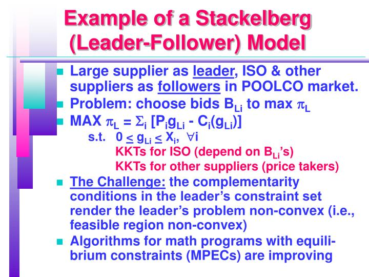 Example of a Stackelberg (Leader-Follower) Model