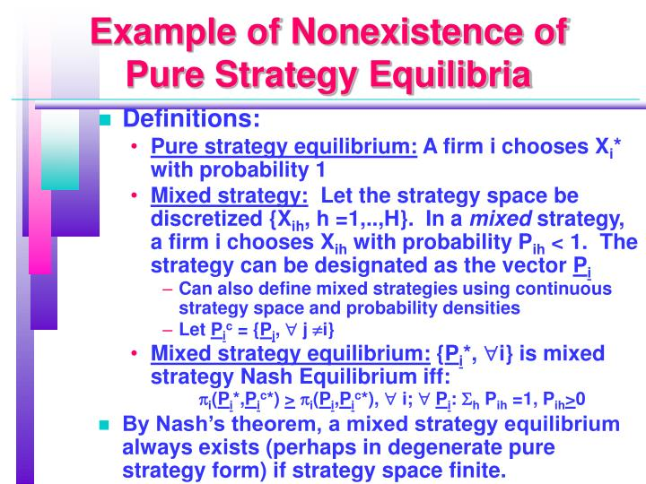 Example of Nonexistence of Pure Strategy Equilibria