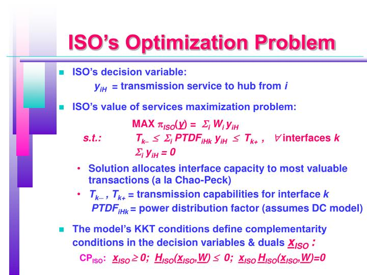 ISO's Optimization Problem