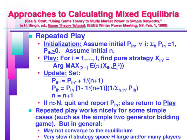 Approaches to Calculating Mixed Equilibria