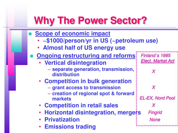 Why the power sector
