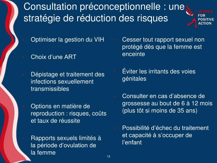 Consultation préconceptionnelle: une stratégie de réduction des risques