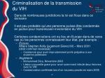 criminalisation de la transmission du vih
