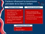 facteurs influen ant la transmission p rinatale de la m re l enfant