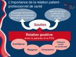 l importance de la relation patient professionnel de sant
