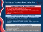 options en mati re de reproduction