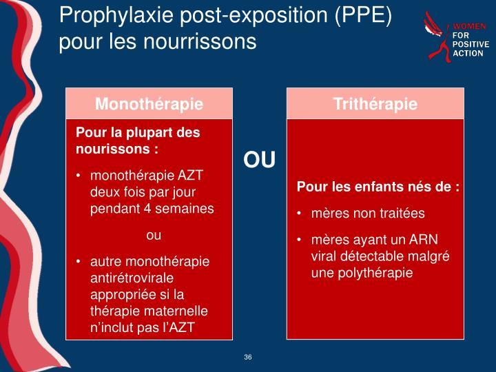 Prophylaxie post-exposition (PPE) pour les nourrissons