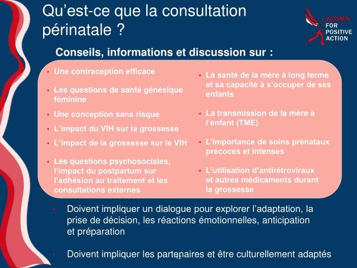 Qu'est-ce que la consultation périnatale?