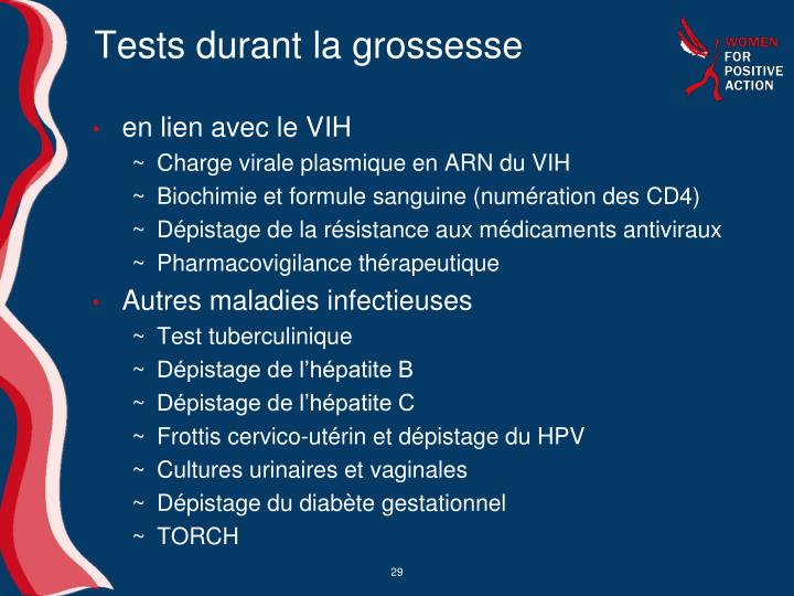 Tests durant la grossesse