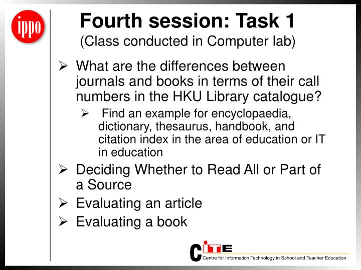 Fourth session: Task 1