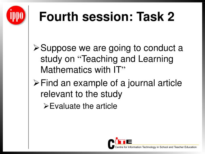 Fourth session: Task 2