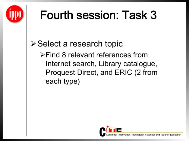 Fourth session: Task 3