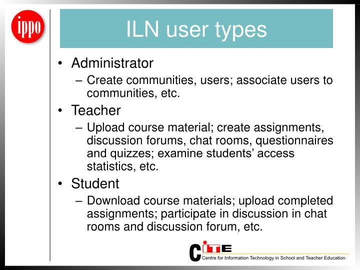 ILN user types