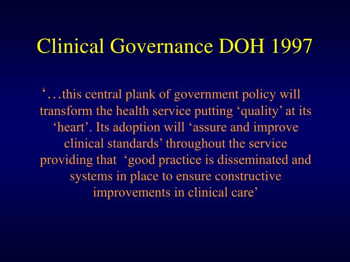 Clinical Governance DOH 1997