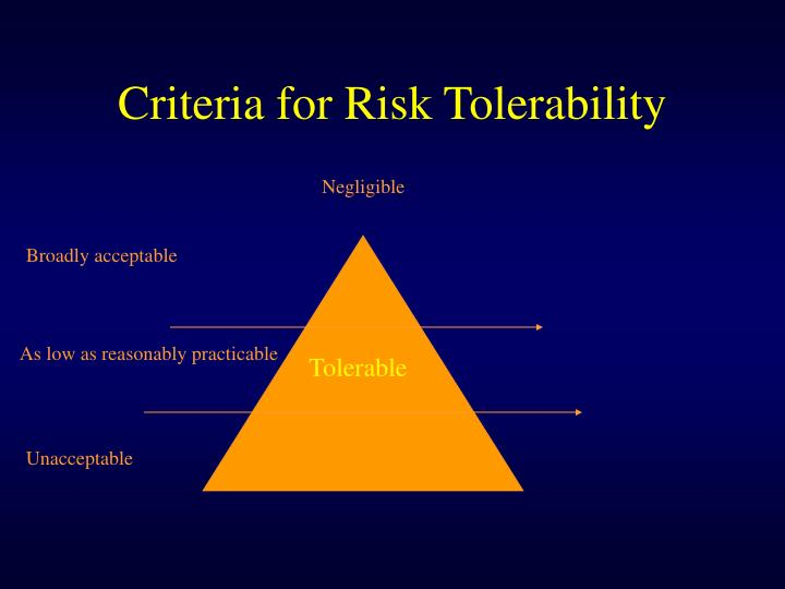 Criteria for Risk Tolerability