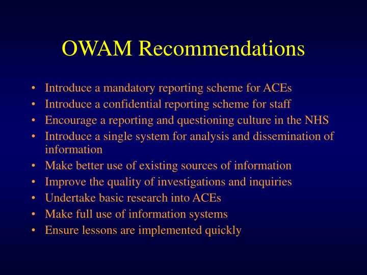 OWAM Recommendations