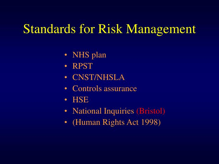 Standards for Risk Management