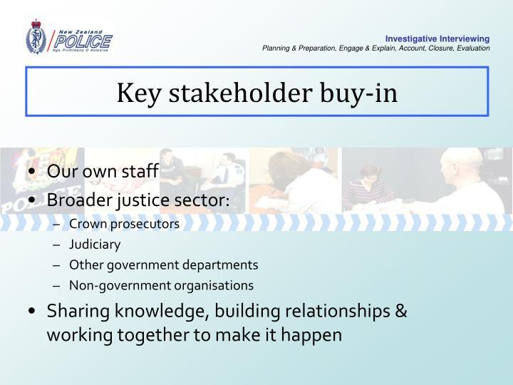 Key stakeholder buy-in